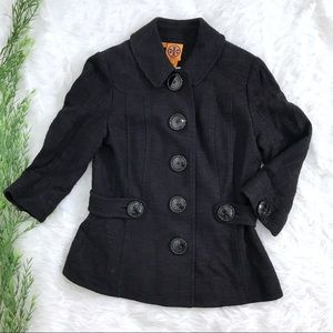 Tory Burch Classic Black Single Breasted Pea Coat